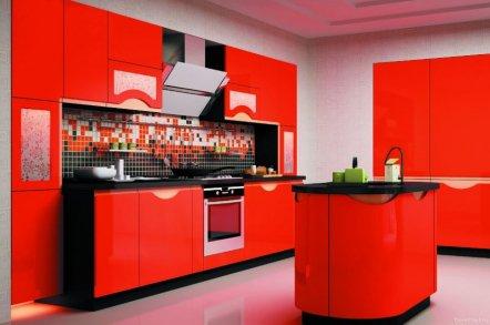 Красно-черная кухня 1