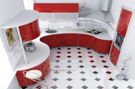 Красно-белая кухня 1